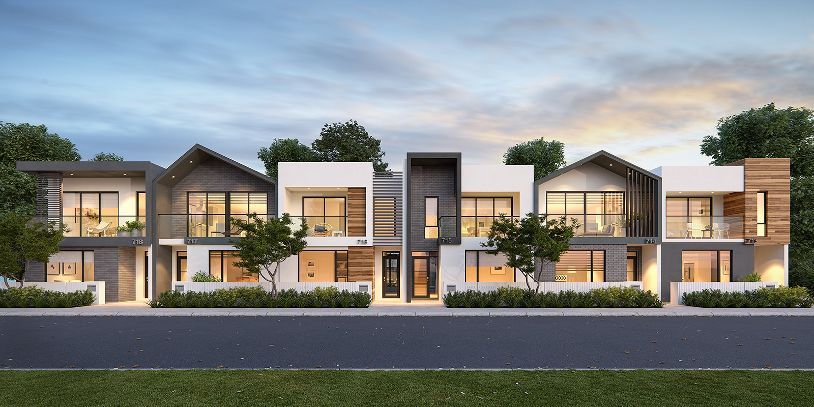 ScreenAge 3d rendering townhouses streetscape perth