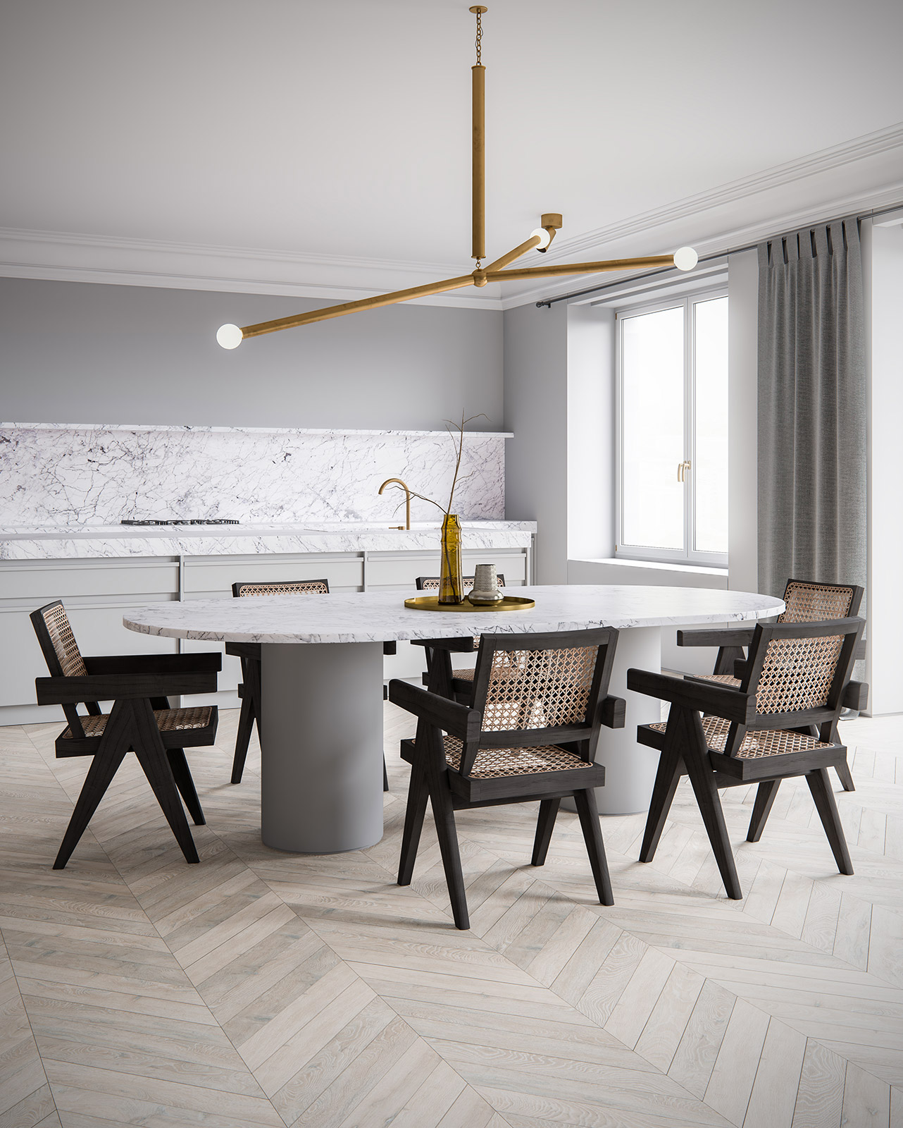 3d interior render. ScreenAge featured project - MIST Dining Table 2