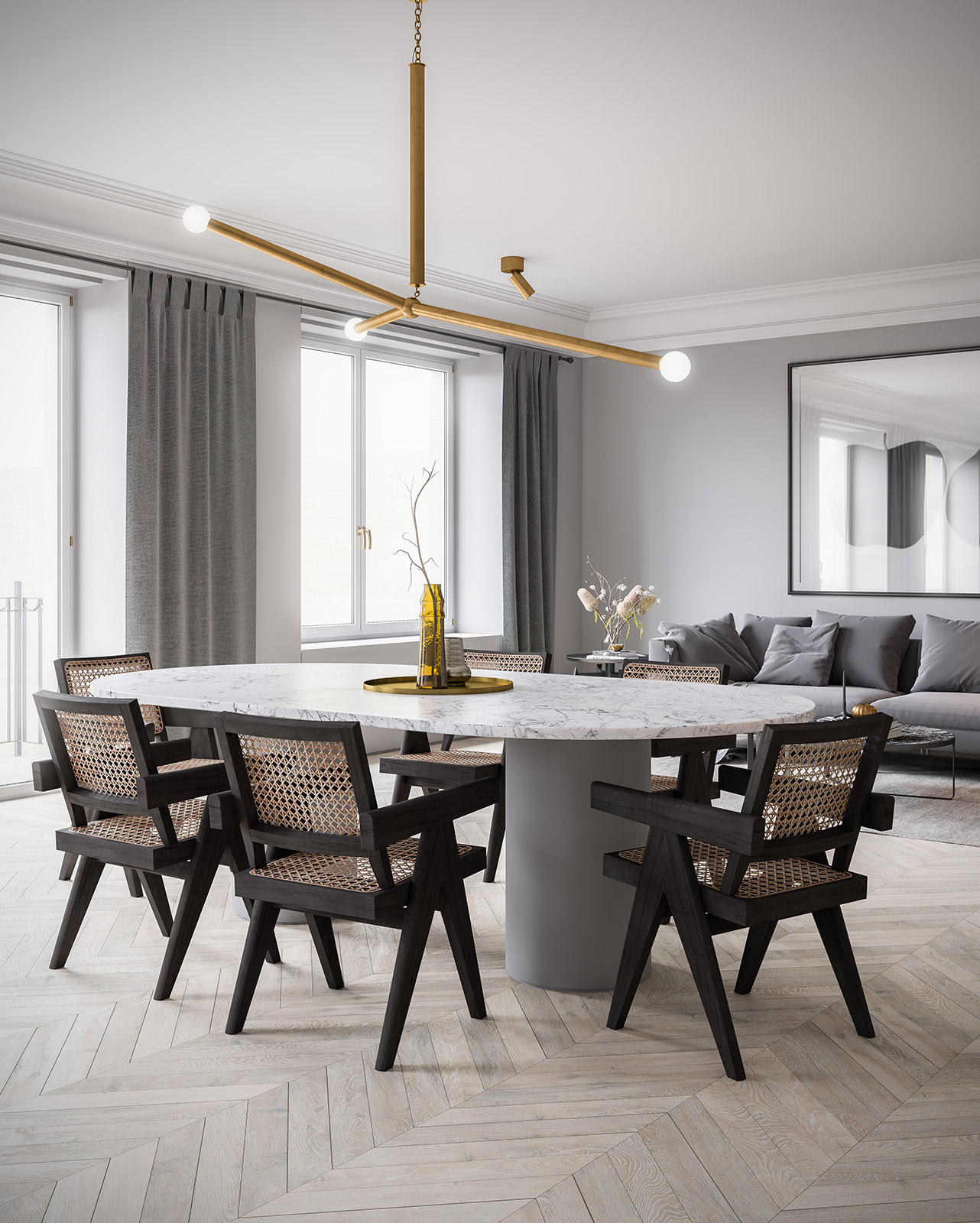 3d interior render. ScreenAge featured project - MIST Dining Table 1