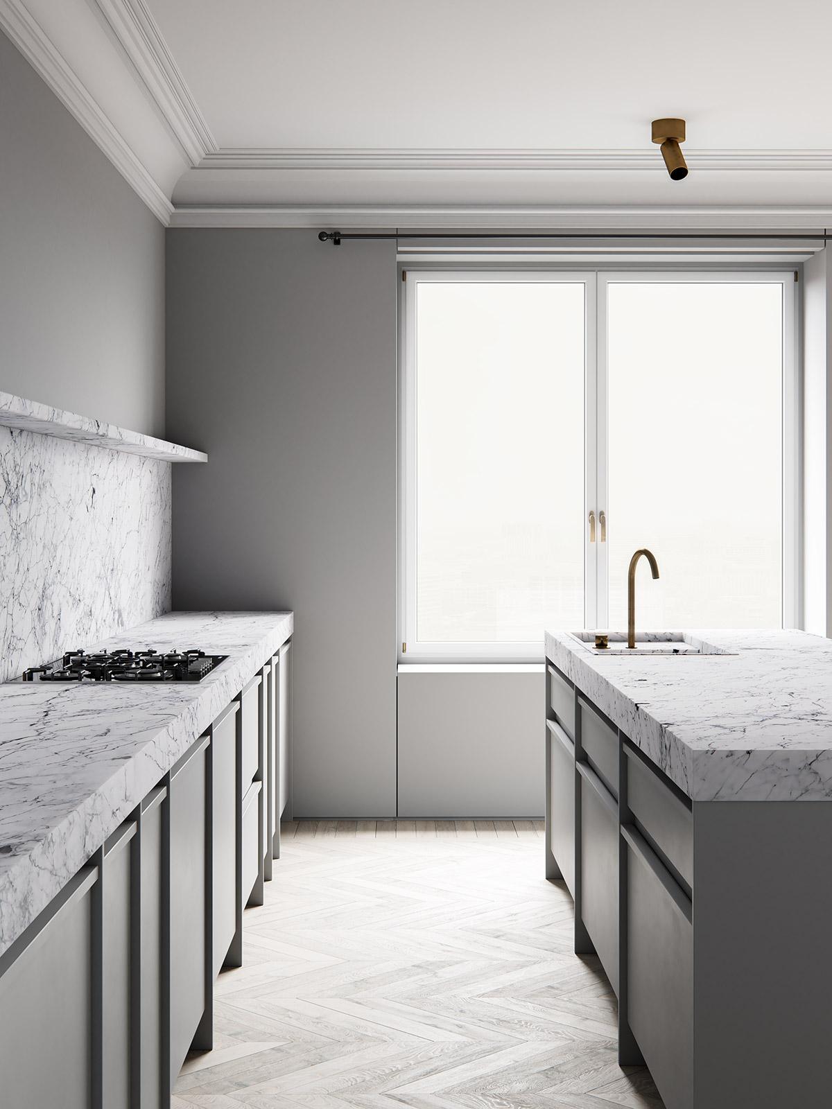 3d interior render. ScreenAge featured project - MIST Kitchen