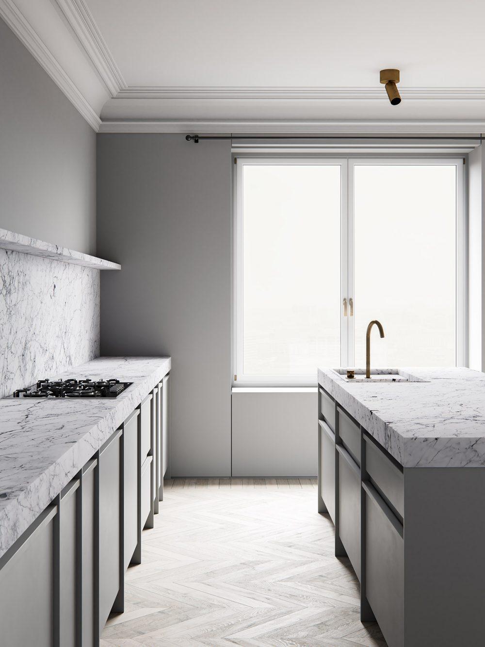 3d interior render. ScreenAge featured project - MIST Kitchen 2