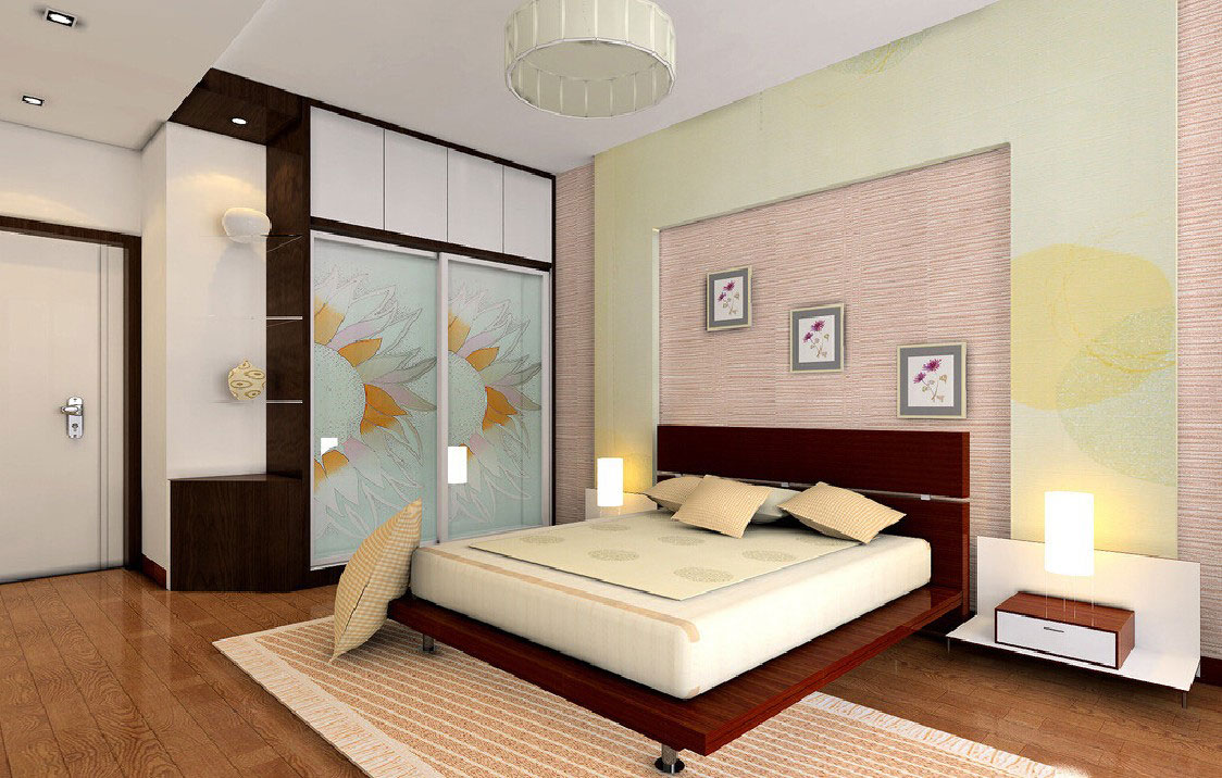 A poor quality 3d rendering of a bedroom created in China